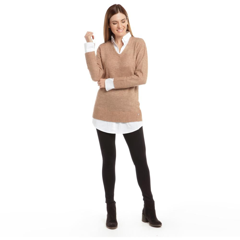 """Sweater Liso Largo Cuello V Mujer Bny""""S image number 2.0"""