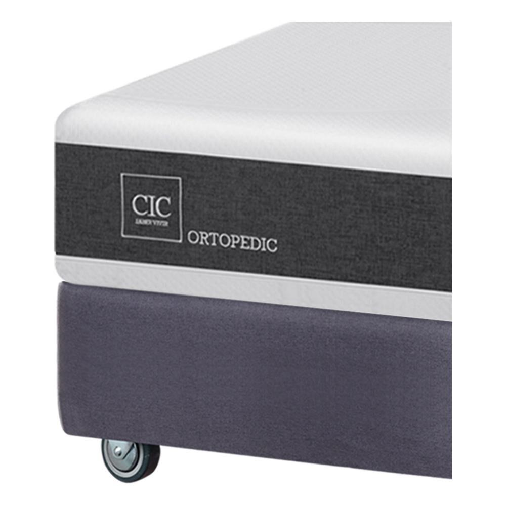 Box Spring Cic Ortopedic Firm / King / Base Dividida  + Set De Maderas + Textil image number 3.0