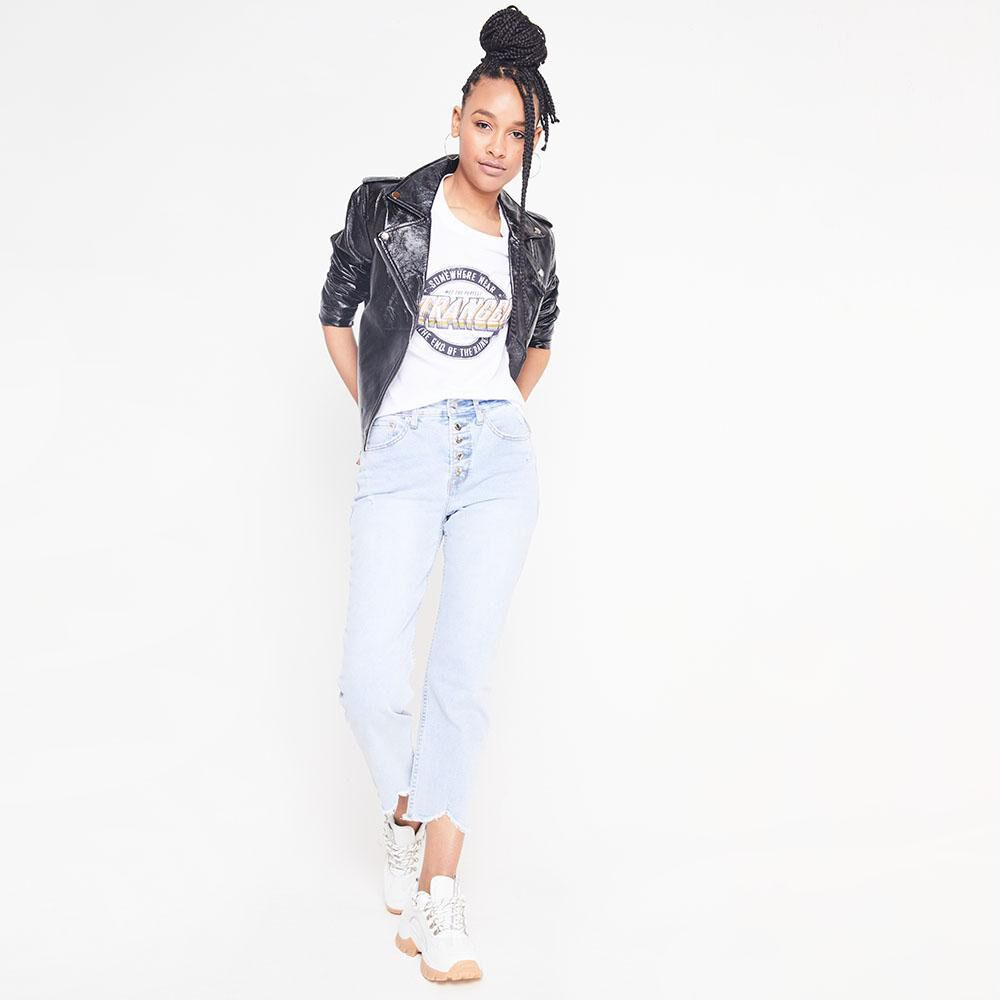 Jeans Tiro Alto Crop Botones Mujer Rolly Go image number 1.0