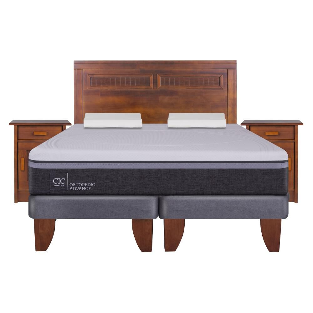 Cama Europea Cic Ortopedic Advance / 2 Plazas / Base Normal  + Set De Maderas + Almohada image number 0.0