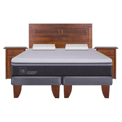 Cama Europea Cic Ortopedic Advance / 2 Plazas / Base Normal  + Set De Maderas + Almohada