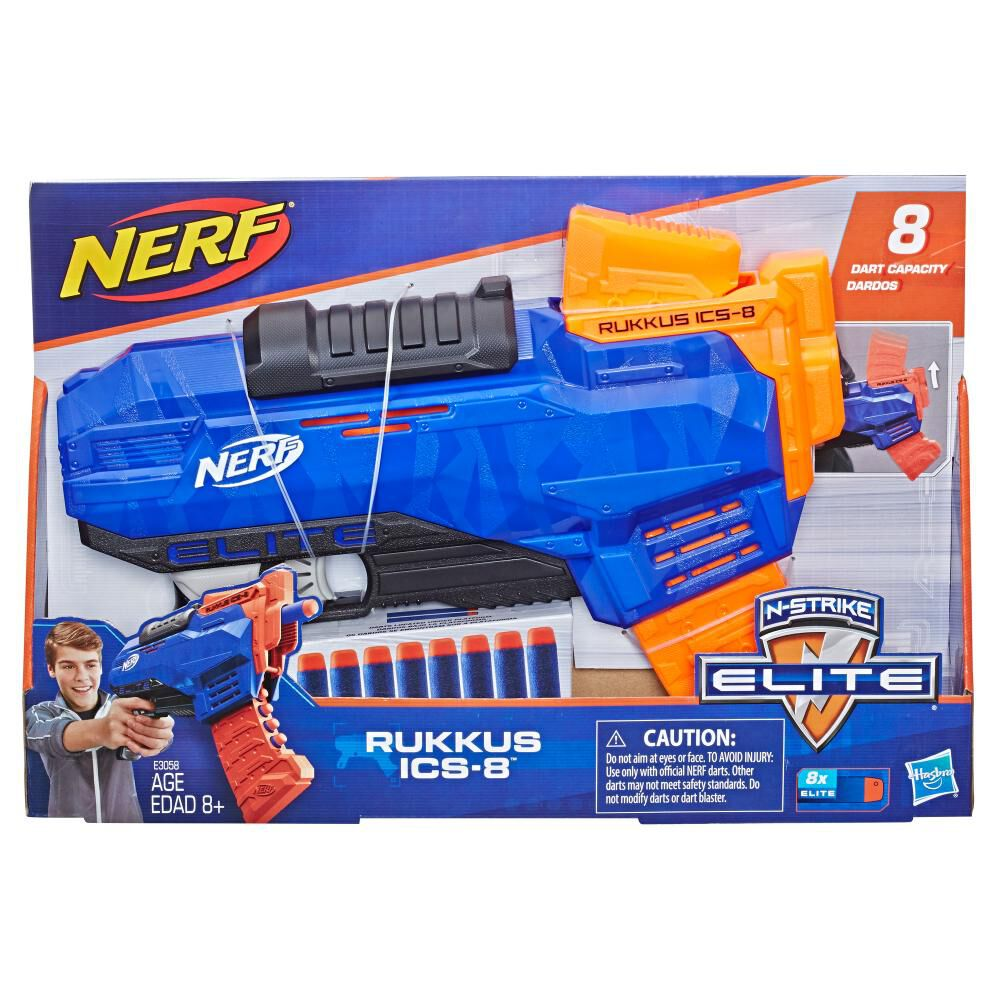 Lanzador De Dardos Nerf Elite Rukkus Ics-8 image number 1.0