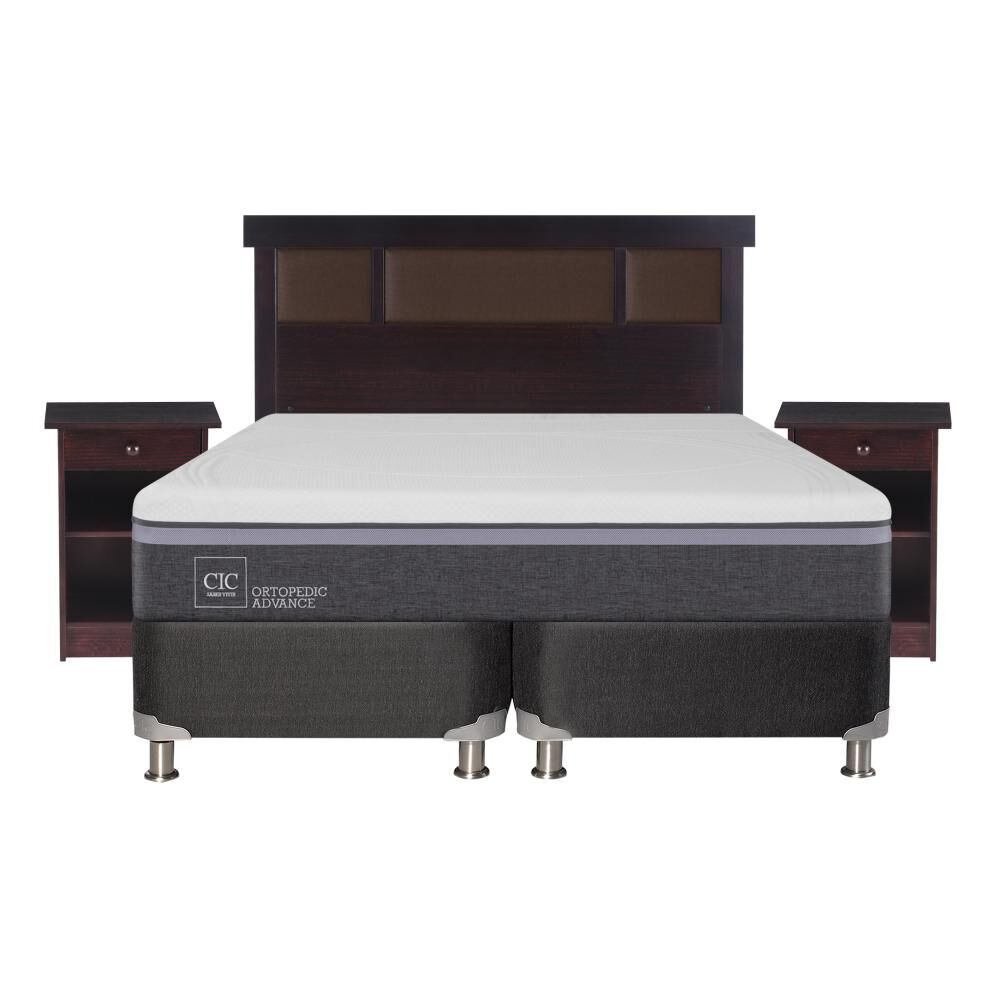 Box Spring Cic Ortopedic / 2 Plazas / Base Dividida  + Set De Maderas