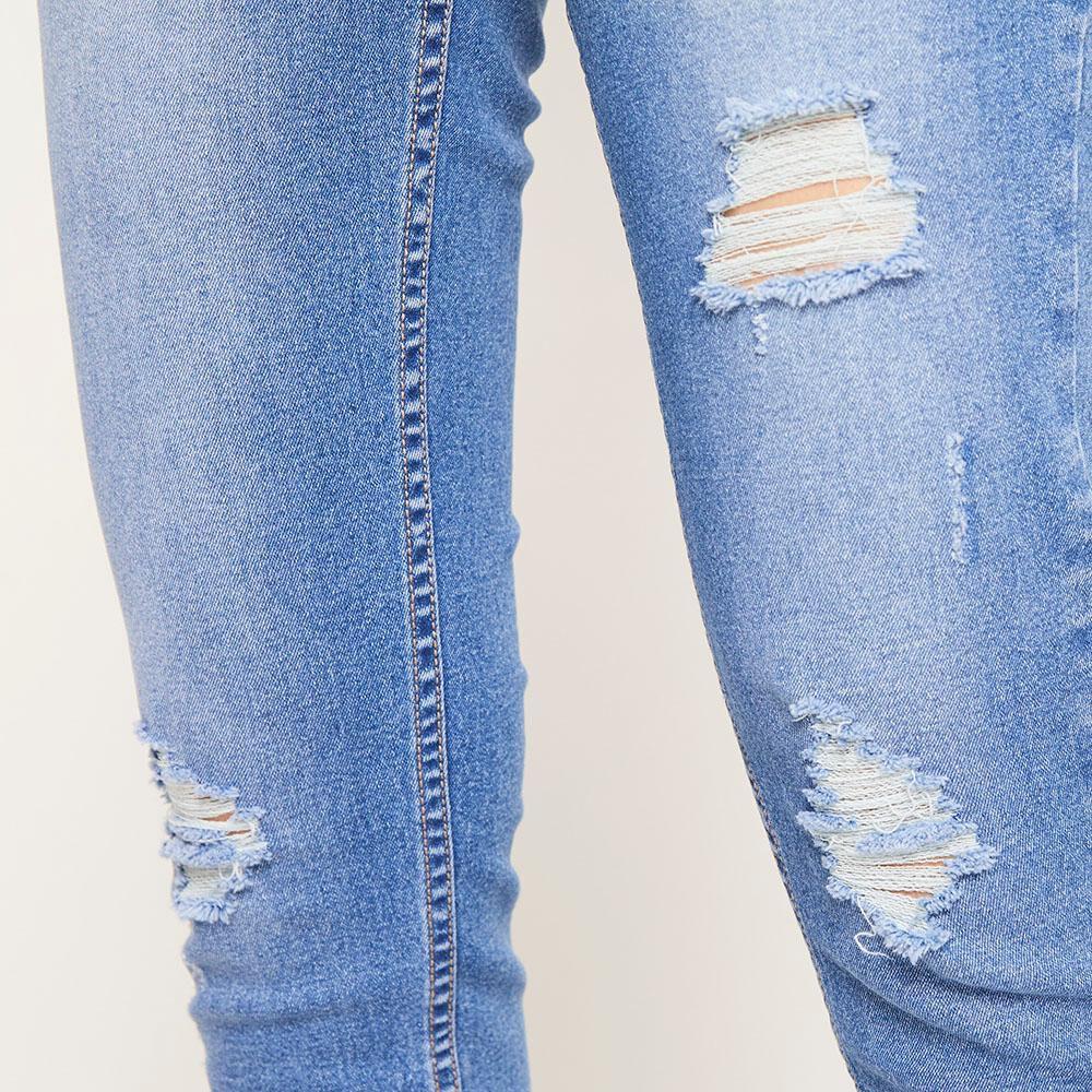 Jeans 5 Botones Tiro Alto Skinny Con Roturas Mujer Freedom image number 5.0