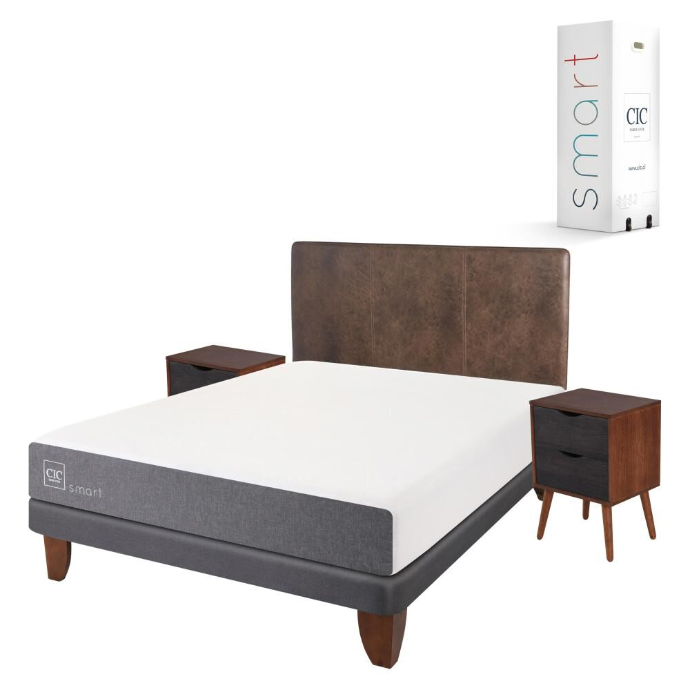 Cama Europea Cic Smart / 2 Plazas / Base Normal  + Set De Maderas image number 1.0