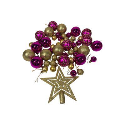 Esferas Casaideal Morado/dorado 49 Esferas + Estrella