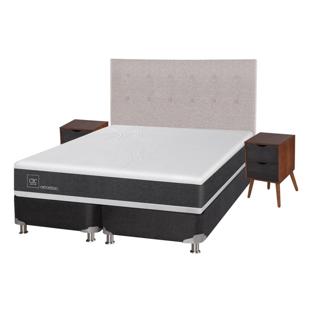 Box Spring Cic Ortopedic / 2 Plazas / Base Dividida  + Set De Maderas image number 1.0