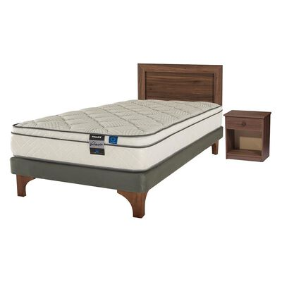 Cama Europea Flex Valencia / 1.5 Plazas / Base Normal  + Set De Maderas