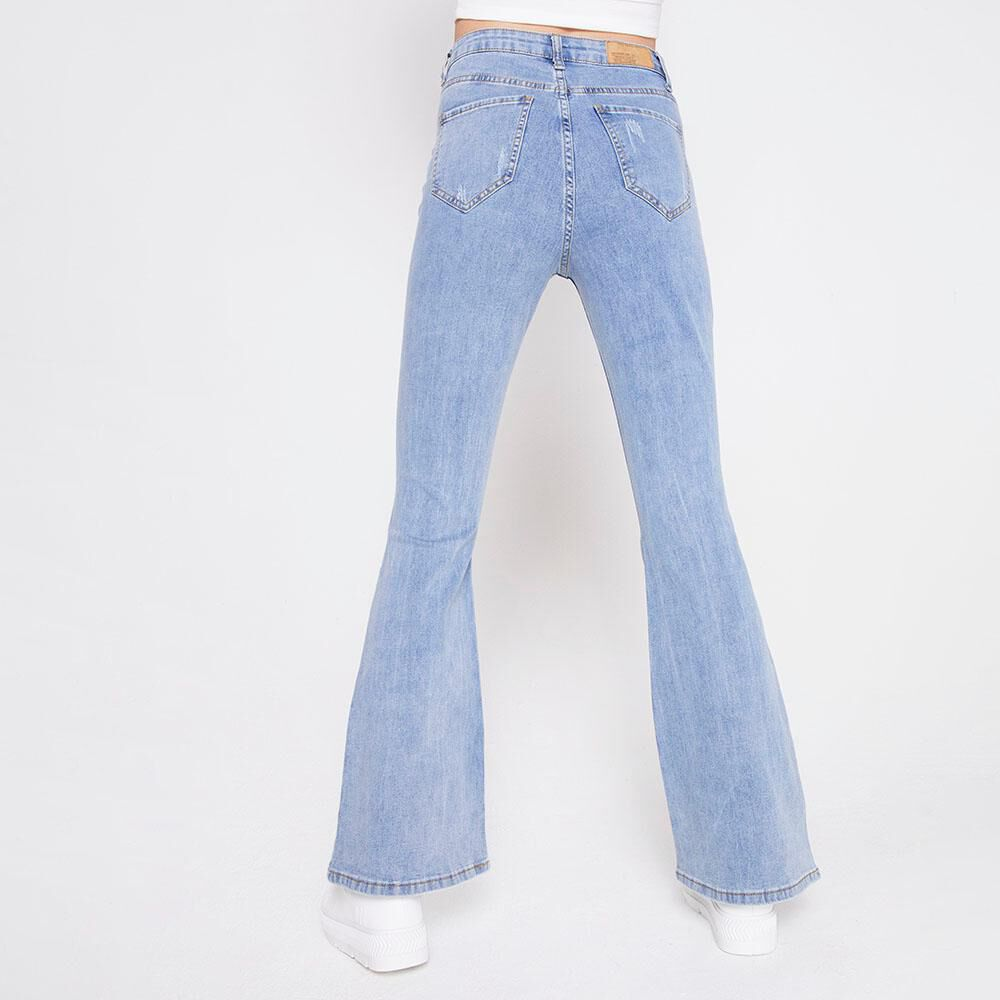 Jeans Tiro Alto Flare Roturas Mujer Freedom image number 2.0