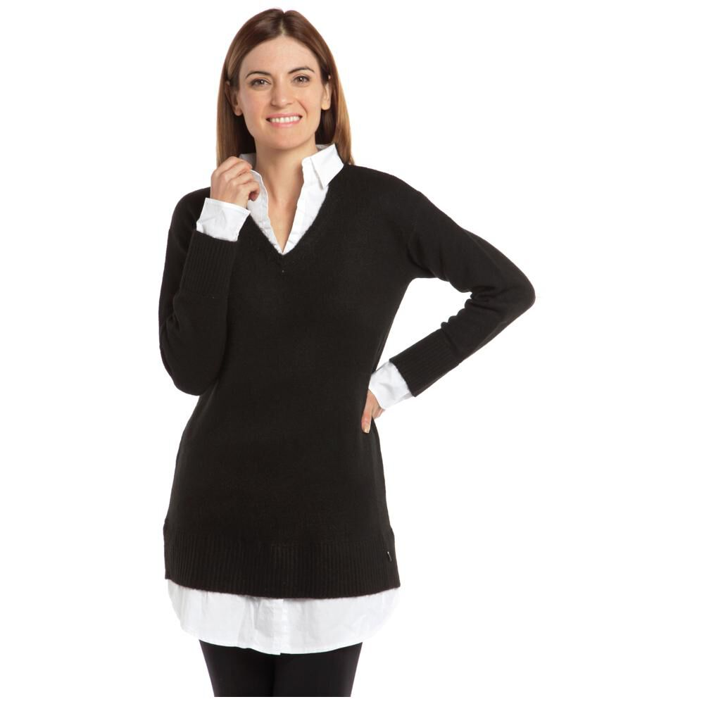 """Sweater Liso Largo Cuello V Mujer Bny""""S image number 0.0"""