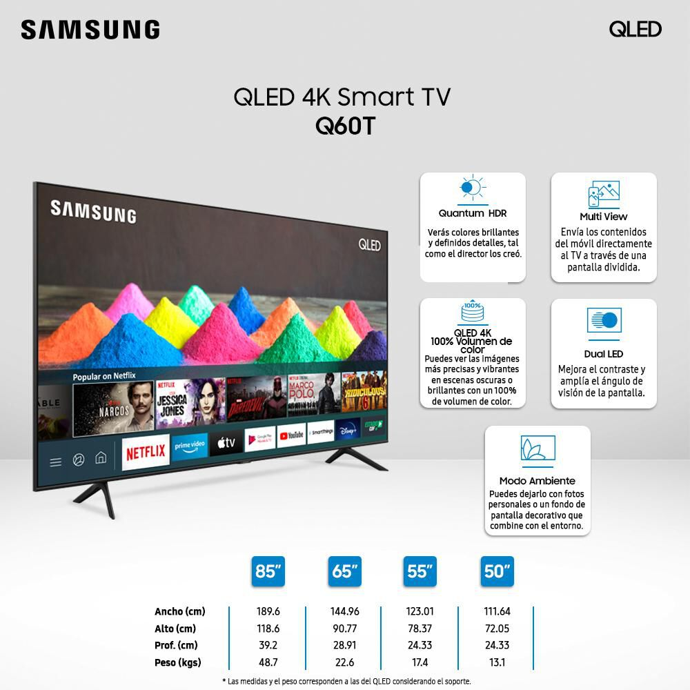 "Qled Samsung 50Q60TA / 50"" / Ultra Hd / 4K / Smart Tv image number 4.0"