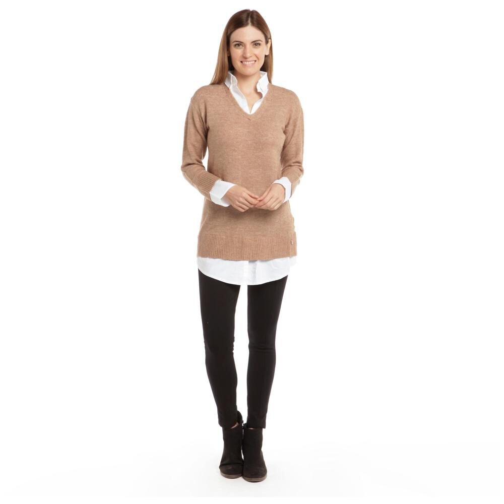 """Sweater Liso Largo Cuello V Mujer Bny""""S image number 1.0"""