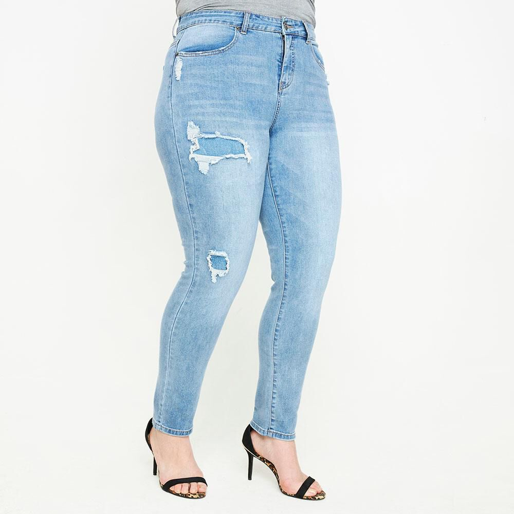 Jeans Tiro Alto Skinny Con Roturas Mujer Sexy Large image number 0.0