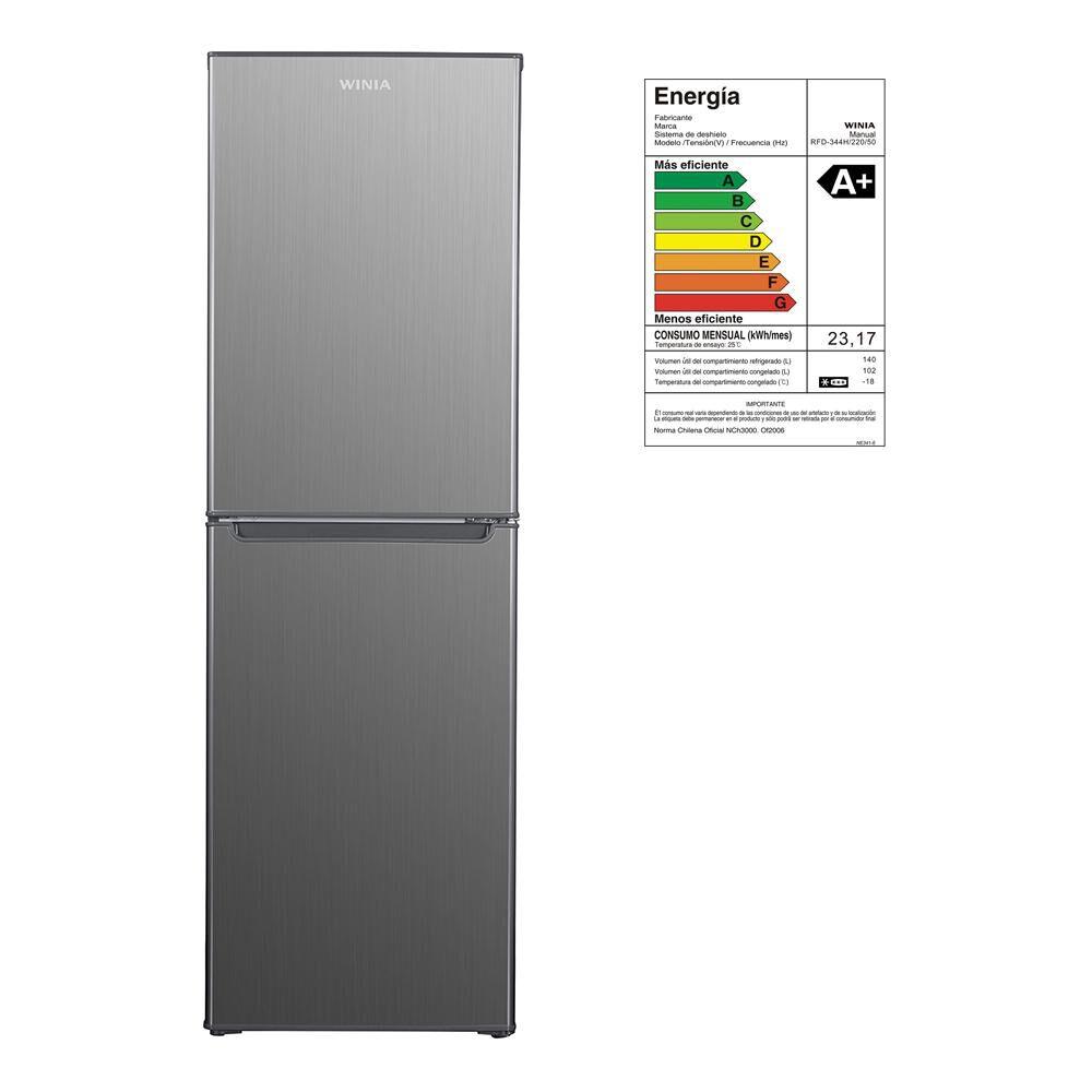 Refrigerador Winia Frío Directo, Bottom Freezer Rfd-344h 242 Litros image number 6.0