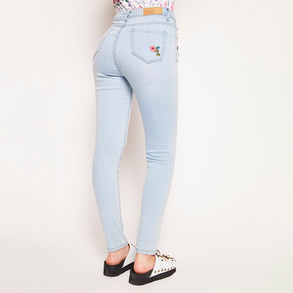 Jeans Bordado Tiro Alto Super Skinny Mujer Freedom image number 2.0