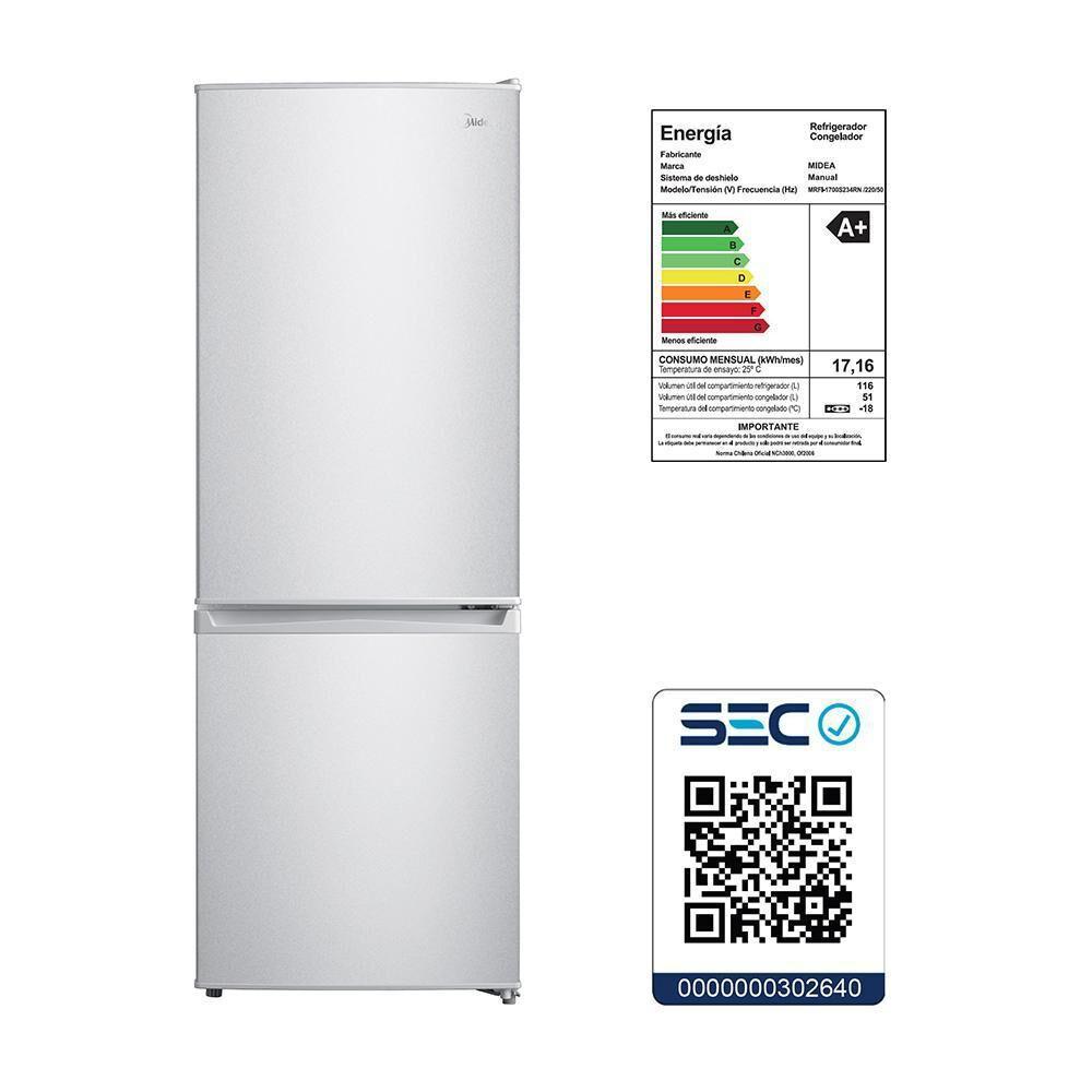 Refrigerador Midea MRFI-1700S234RN / Frío Directo / 167 Litros image number 7.0