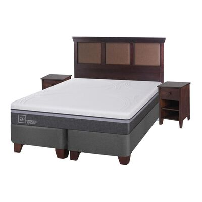 Box Spring Cic Ortopedic Firm / King / Base Dividida  + Set De Maderas