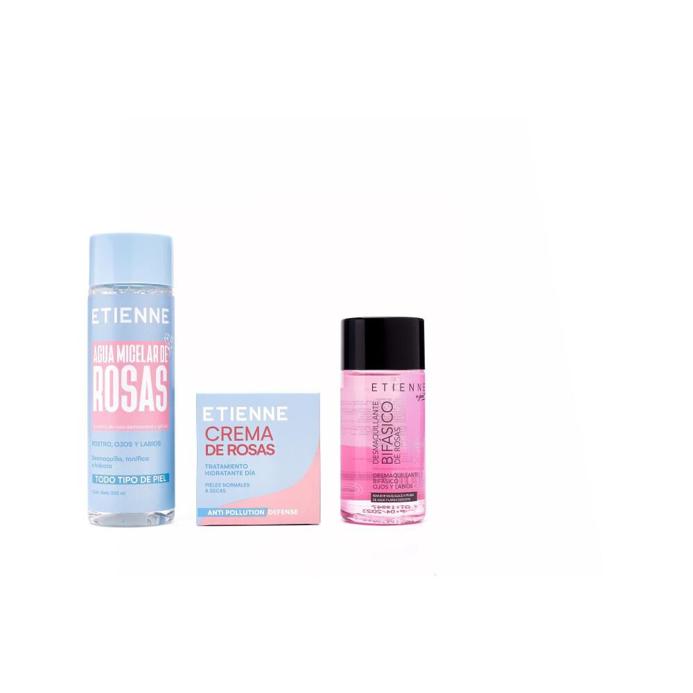 Set De Limpieza Facial Etienne / Agua Micelar 200ml + Crema Rosas 50gr + Desmaquillante 125ml image number 1.0