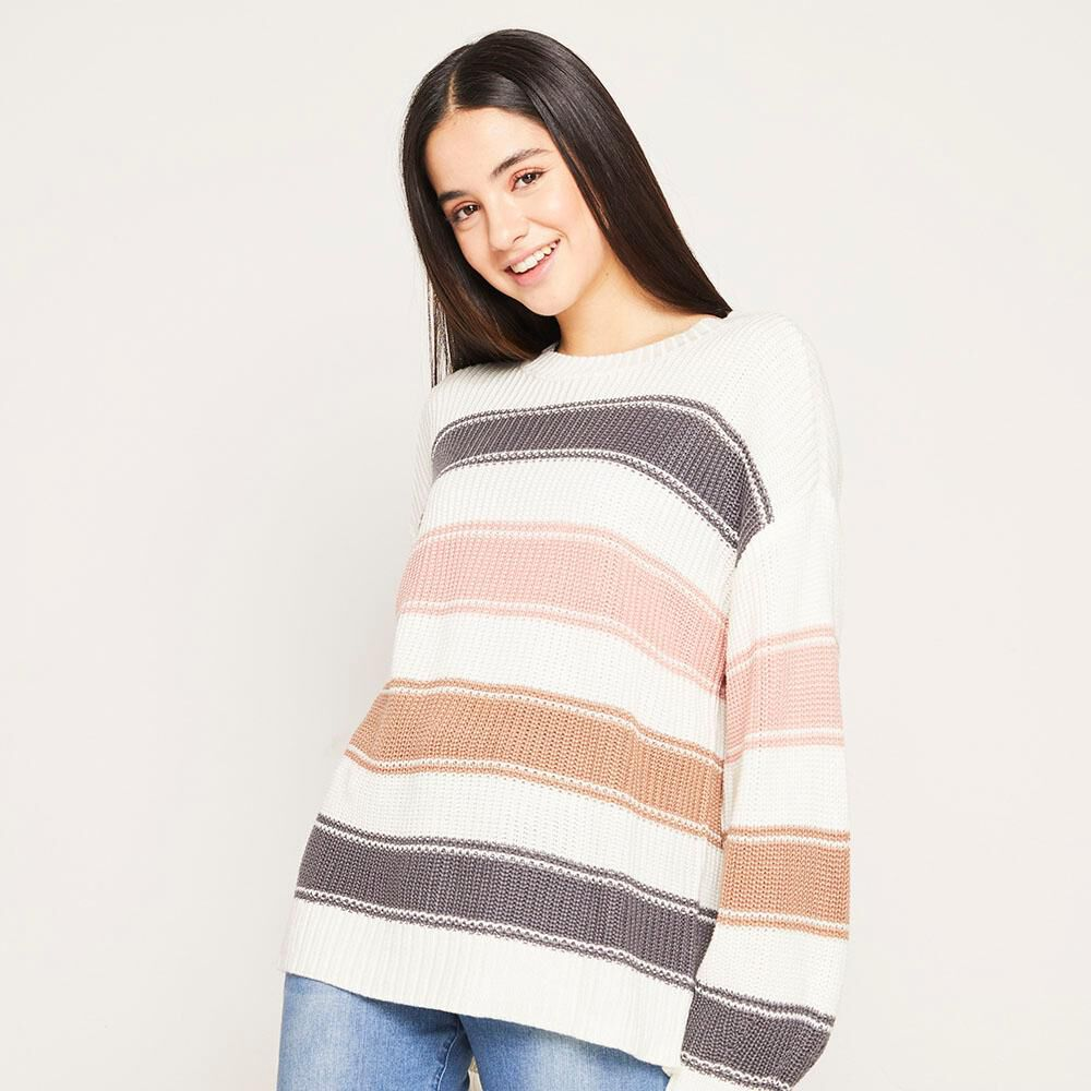 Sweater Lineas Relaxed Fit Cuello Redondo Mujer Freedom image number 4.0