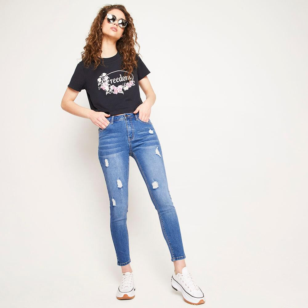 Jeans Tiro Alto Super Skinny Con Roturas Mujer Freedom image number 5.0