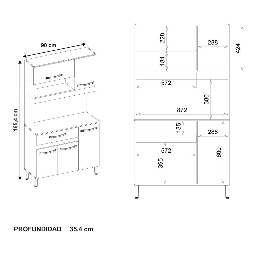 Mueble De Cocina Home Mobili Frank / 5 Puertas / 1 Cajón image number 4.0