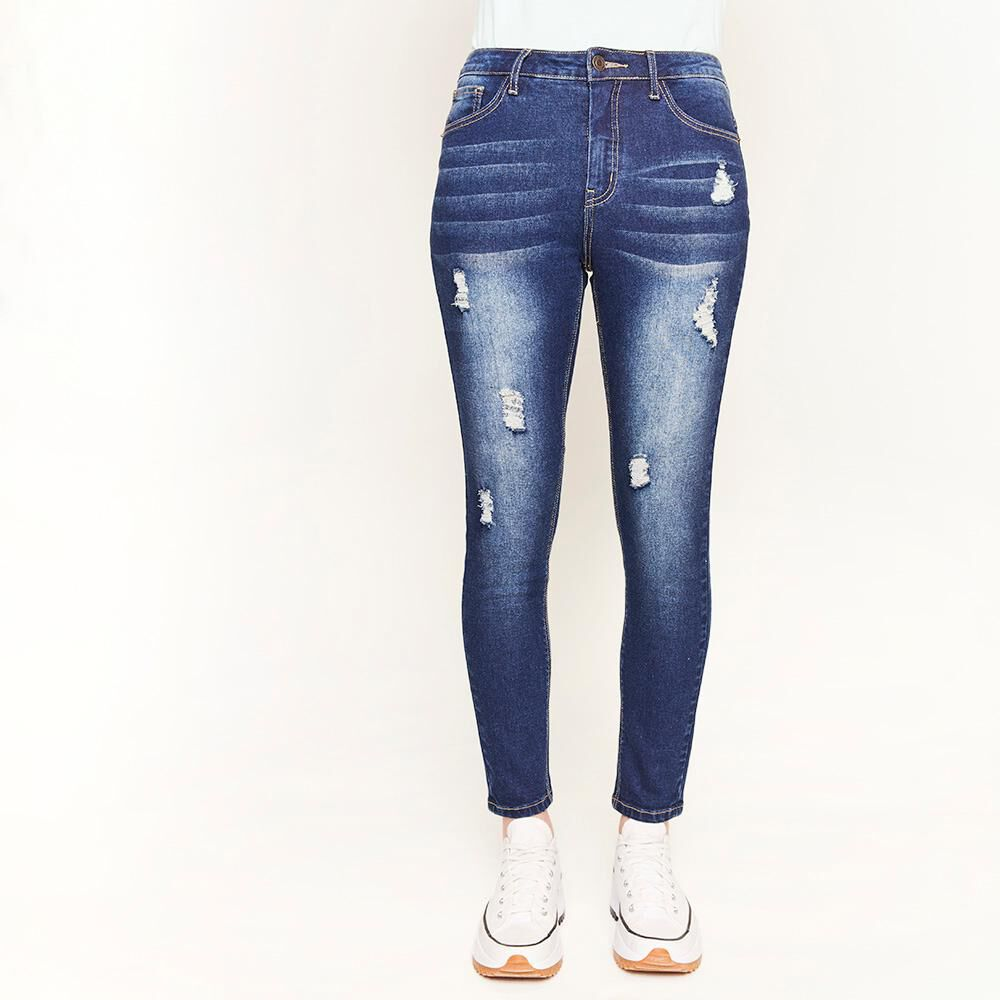 Jeans Rotura Tiro Medio Super Skinny Mujer Freedom image number 0.0