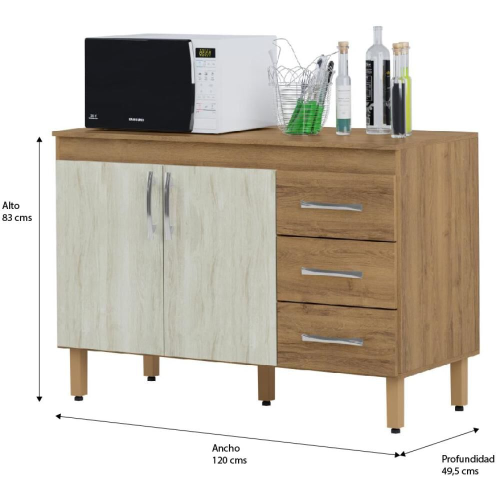Mueble De Cocina Home Mobili Kalahari/montana / 2 Puertas / 3 Cajones image number 4.0