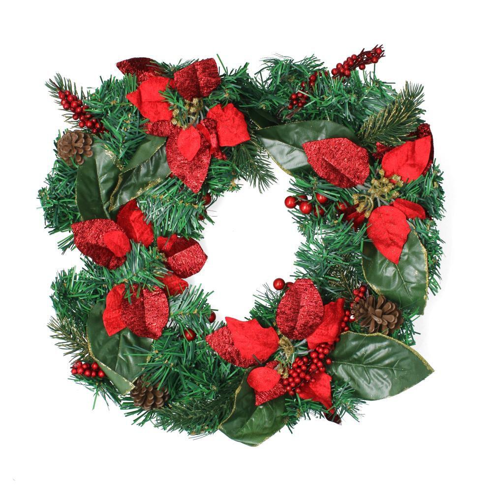 Adorno Navidad Casaideal Corona Flores image number 0.0