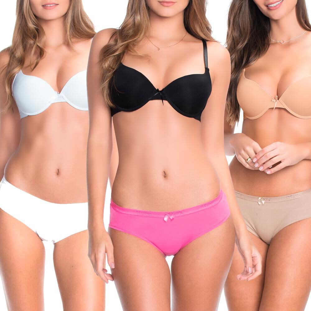 Pack Sostén Push Up Mujer Intime / Copa B / 3 Unidades image number 0.0
