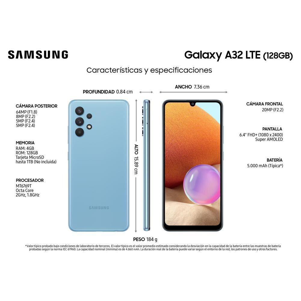 Smartphone Samsung A32 Blue / 128 Gb / Liberado image number 2.0