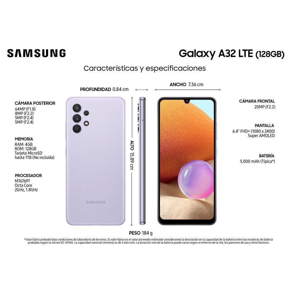Smartphone Samsung A32 Violeta / 128 Gb / Liberado image number 4.0