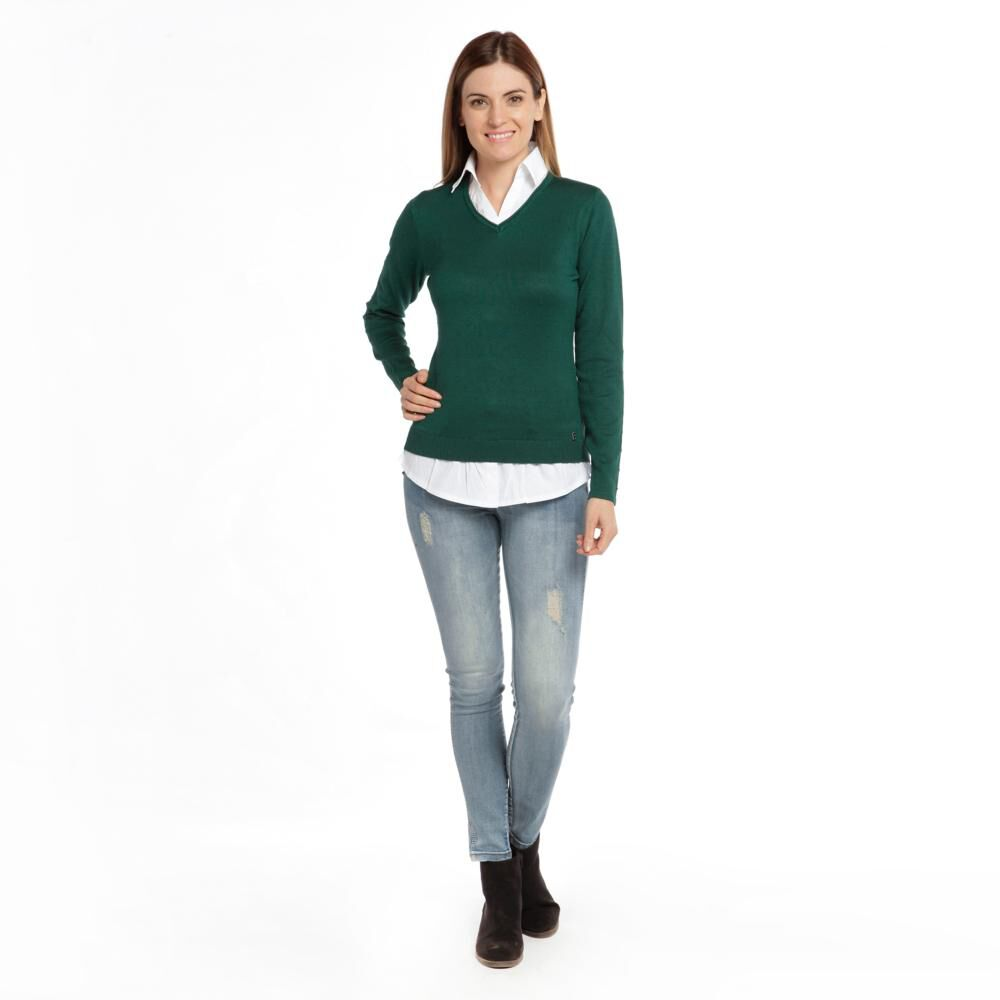 """Sweater Liso Cuello V Mujer Bny""""S image number 1.0"""