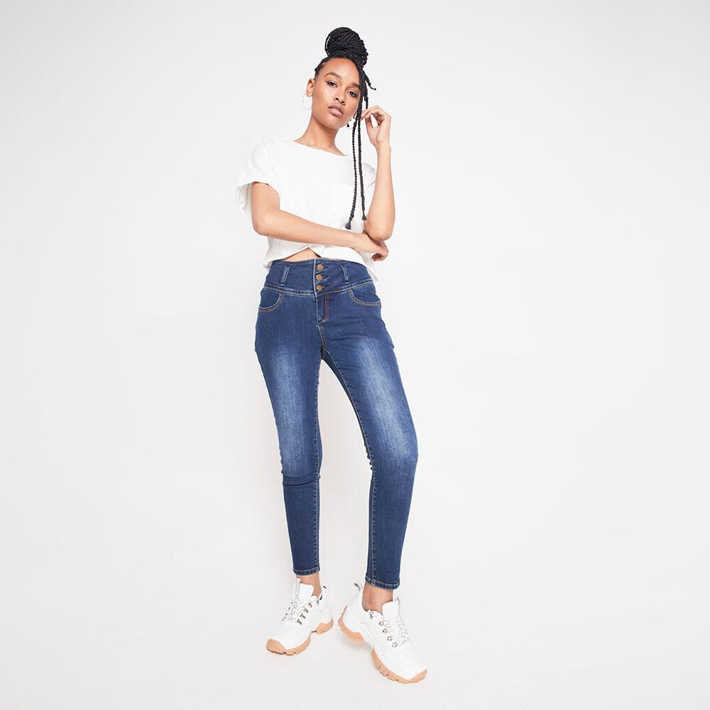 Jeans Tiro Alto Con Almohadillas Rolly Go image number 1.0