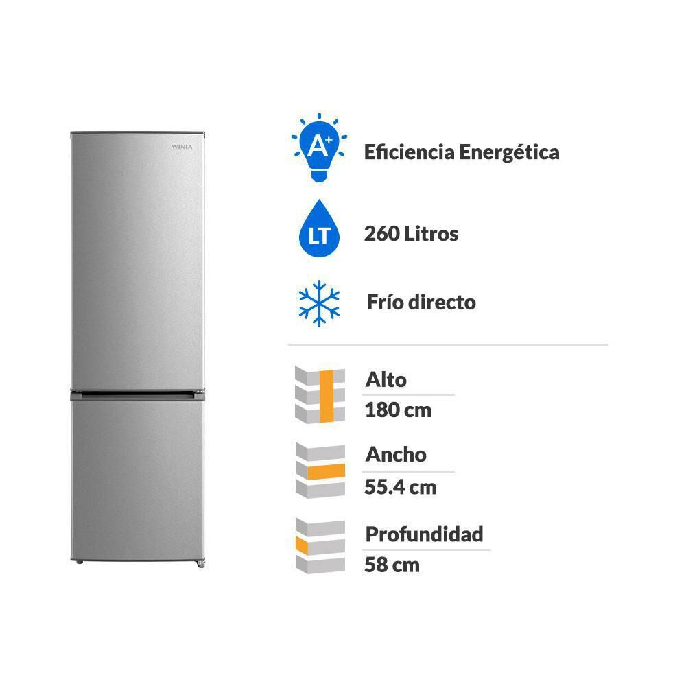 Refrigerador Bottom freezer Winia RFD366S / Frío Directo / 260 Litros image number 1.0