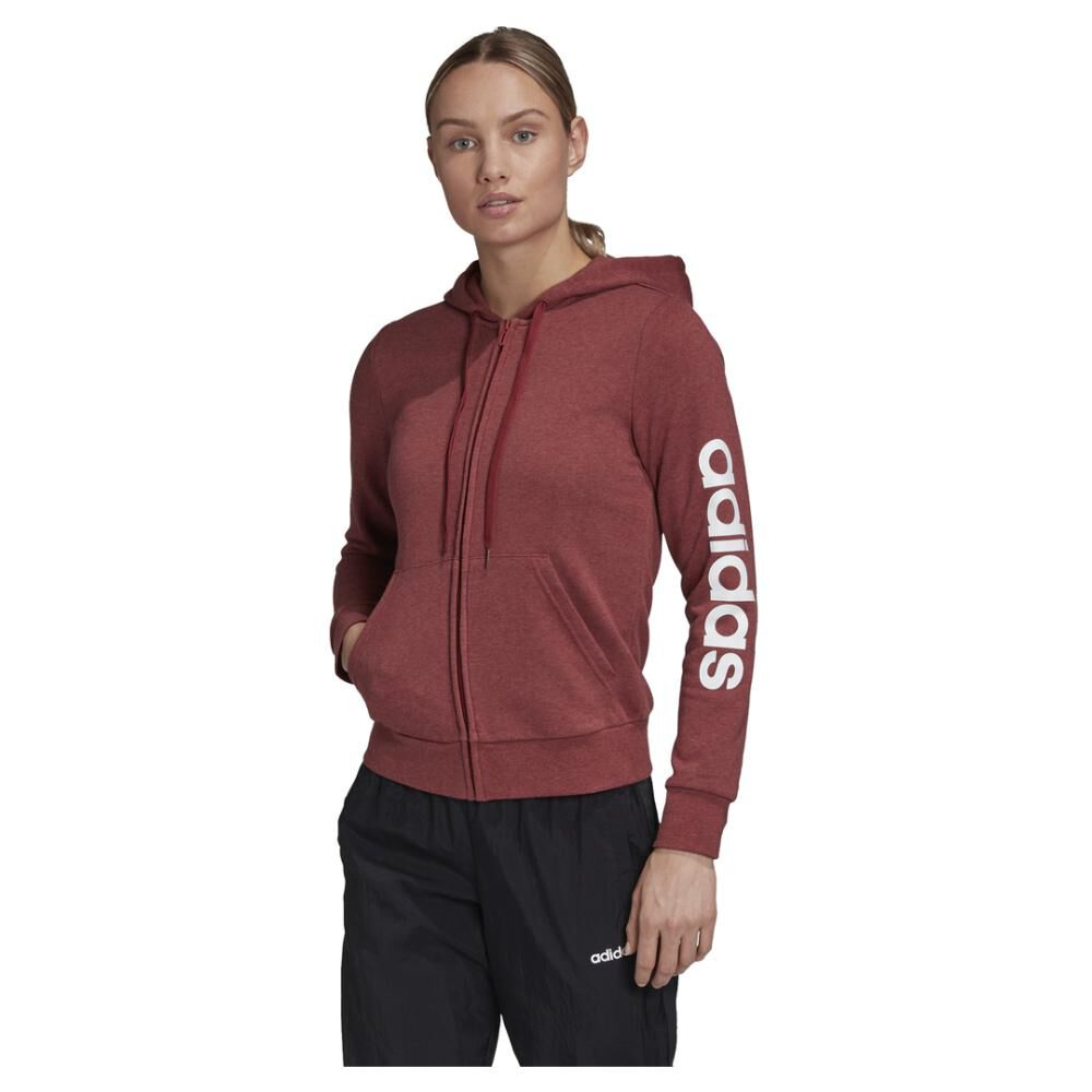 Poleron Deportivo Mujer Adidas Essentials Linear Full Zip image number 0.0