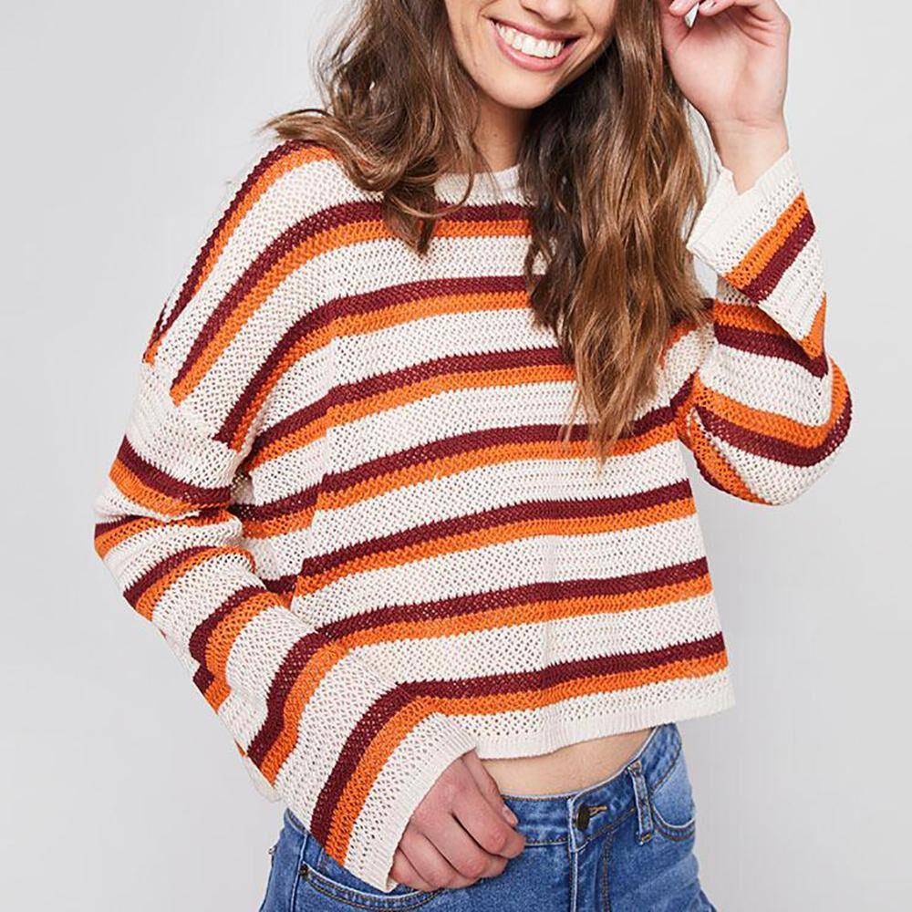 Sweater Rayas Tejido Corto Mujer Freedom image number 0.0