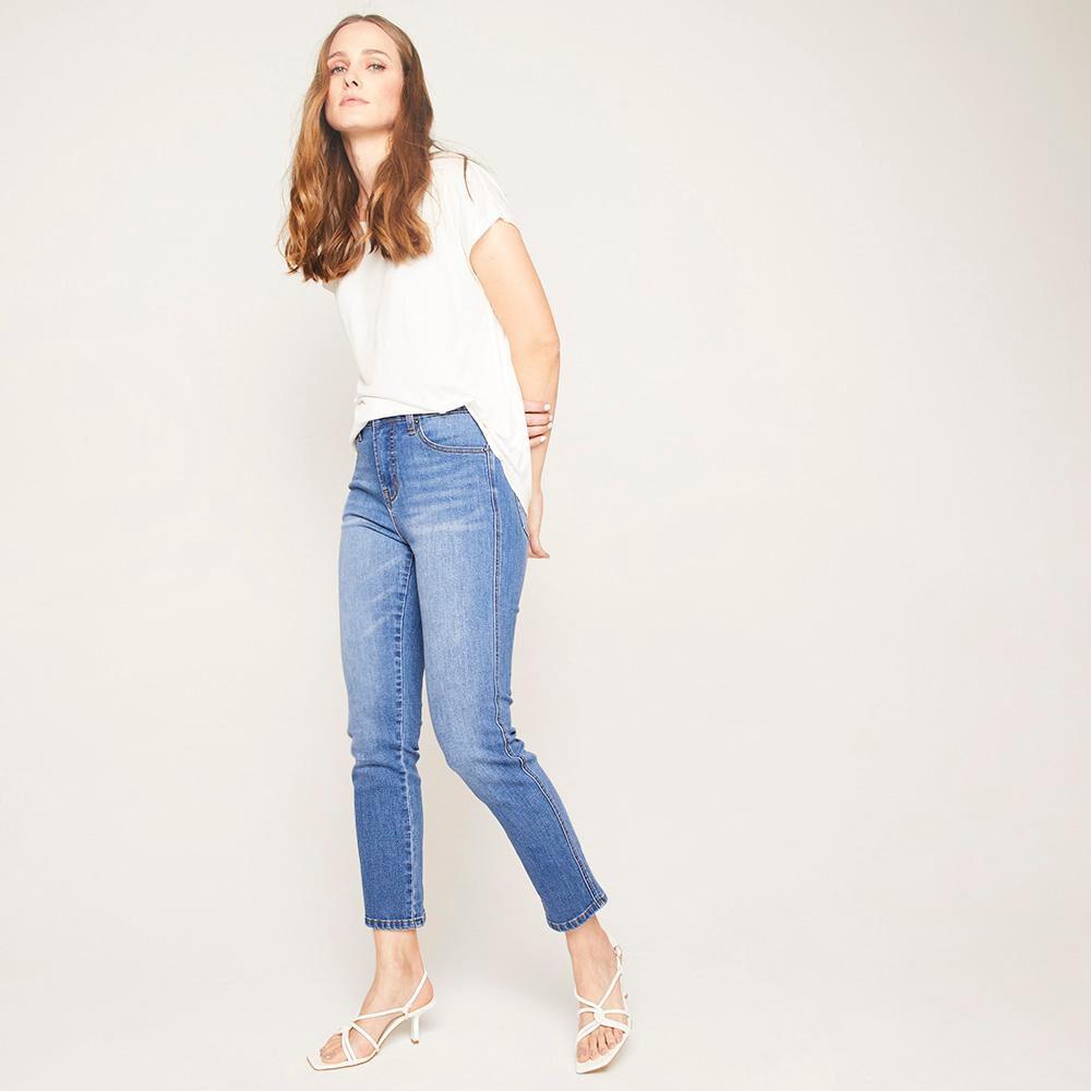 Jeans Crop Tiro Alto Recto Mujer Kimera image number 1.0