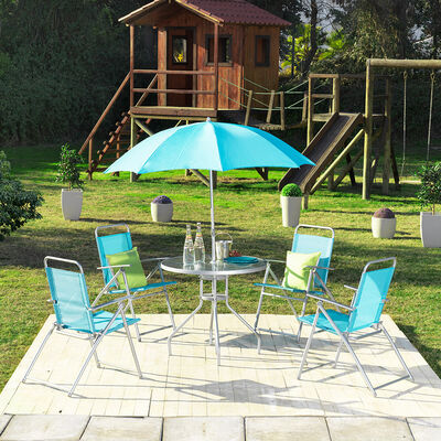Set De Terraza Casa Ideal Tulum / Mesa + 4 Sillas + Quitasol