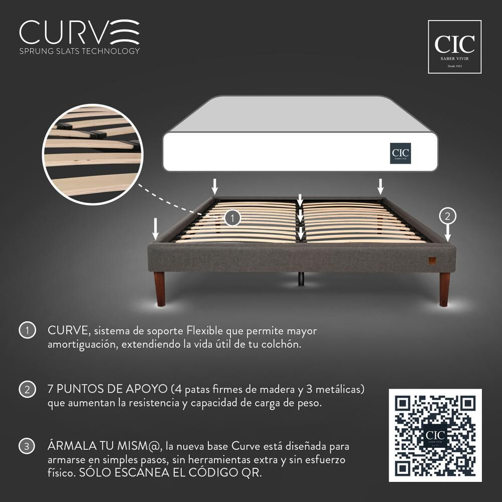 Cama Europea Cic Curve Super Premium / 2 Plazas image number 9.0