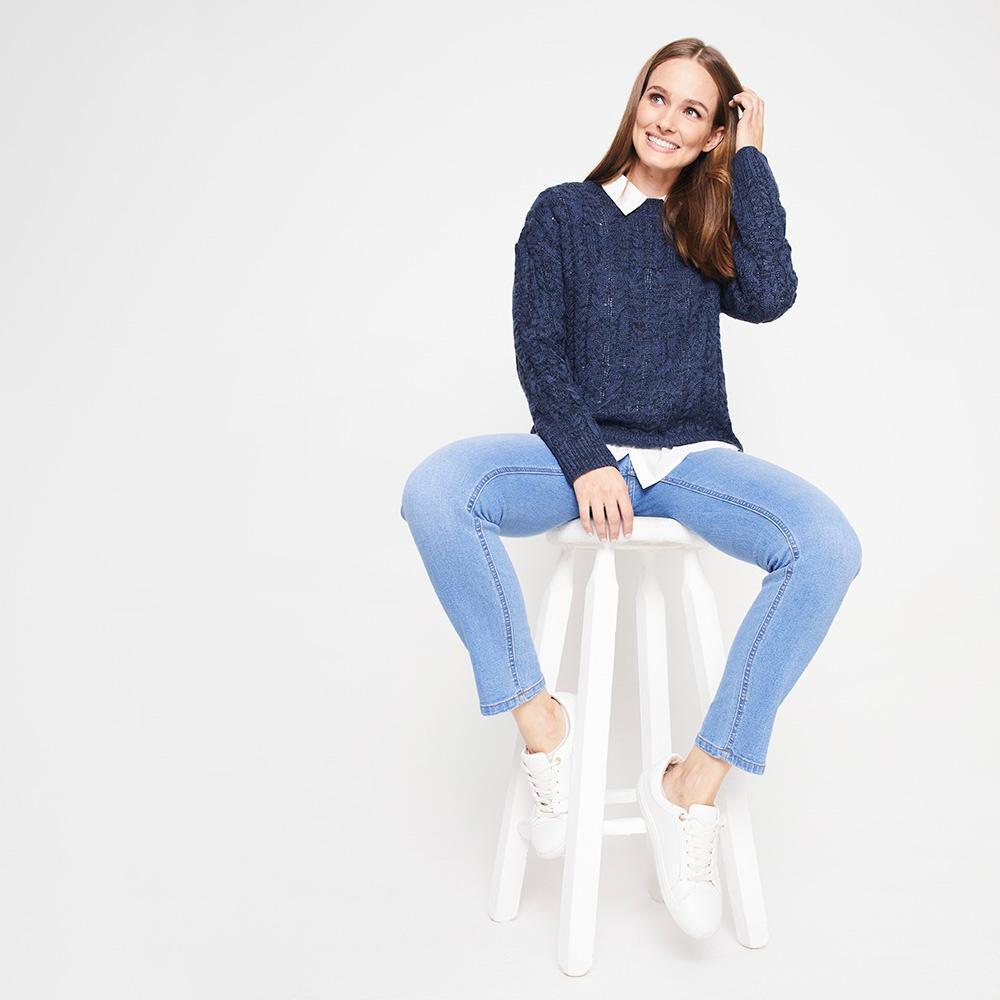 Sweater Jaspeado Trenzado Largo Mujer Geeps image number 1.0