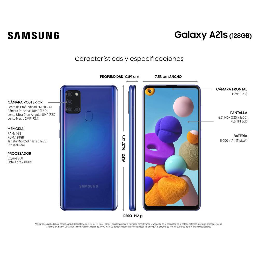 Smartphone Samsung A21s Azul / 128 Gb / Wom image number 2.0