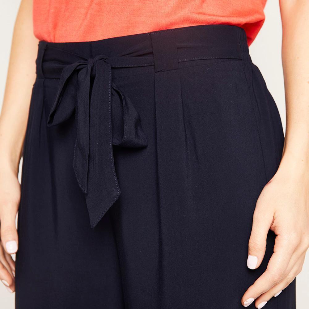 Pantalón Pretina Elástico Y Cinturón Tiro Medio Recto Mujer Kimera image number 3.0