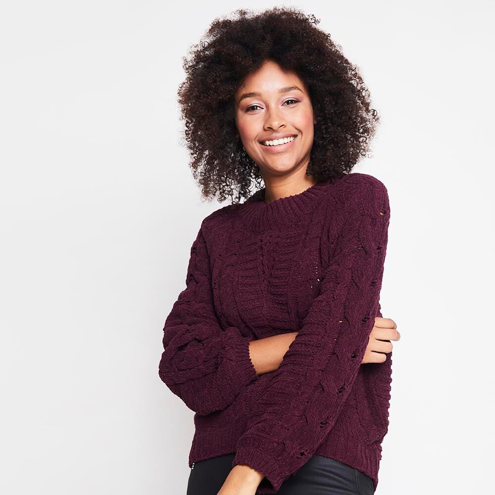 Sweater Tejido Trenzado Chenille Mujer Rolly Go image number 0.0