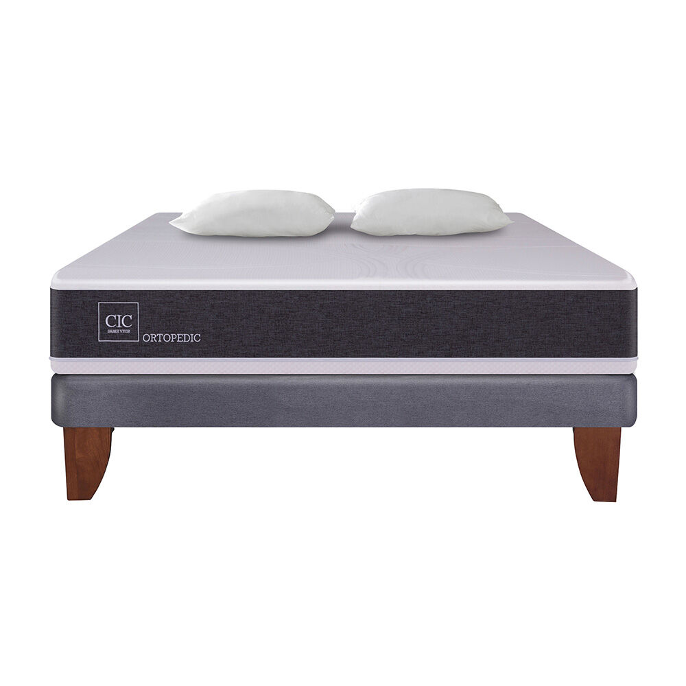 Cama Europea Cic New Ortopedic / 2 Plazas / Base Normal + Almohadas image number 1.0