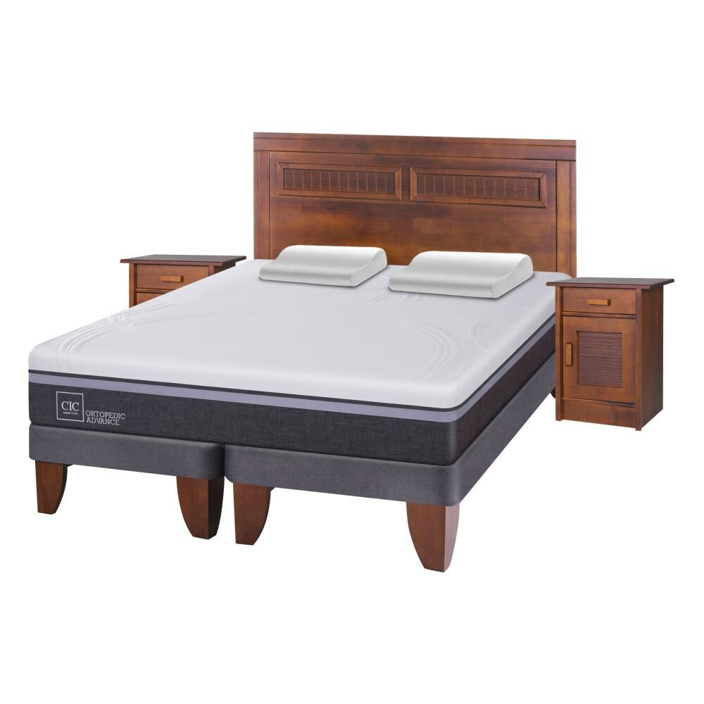 Cama Europea Cic Ortopedic Advance / 2 Plazas / Base Normal  + Set De Maderas + Almohada image number 1.0