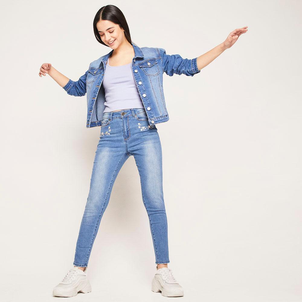 Jeans Bordado Tiro Alto Skinny Mujer Freedom image number 5.0