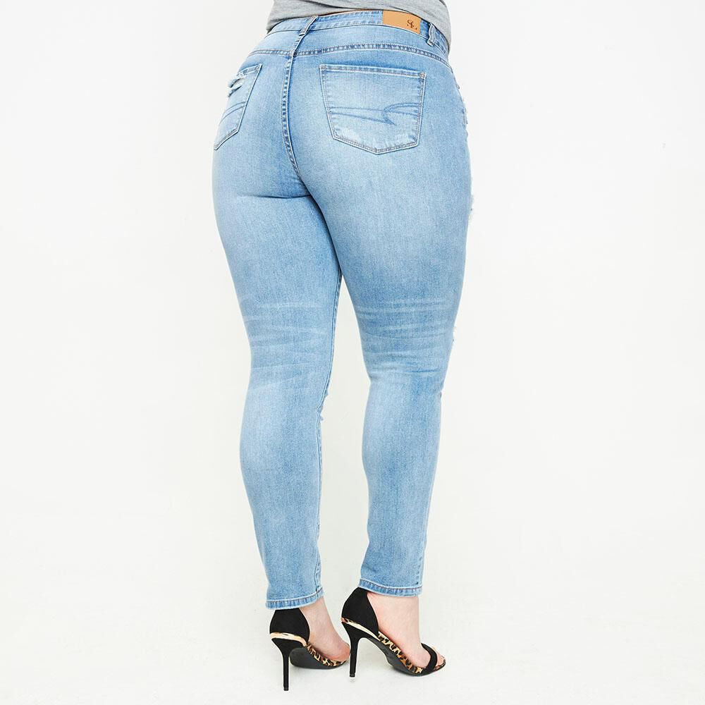 Jeans Tiro Alto Skinny Con Roturas Mujer Sexy Large image number 2.0