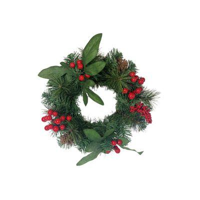 Adorno Navidad Casaideal Corona Navideña Con Bayas