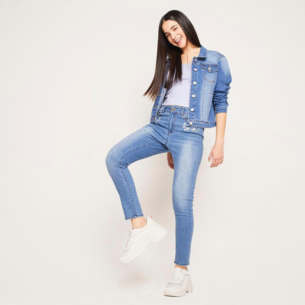 Jeans Bordado Tiro Alto Skinny Mujer Freedom image number 1.0