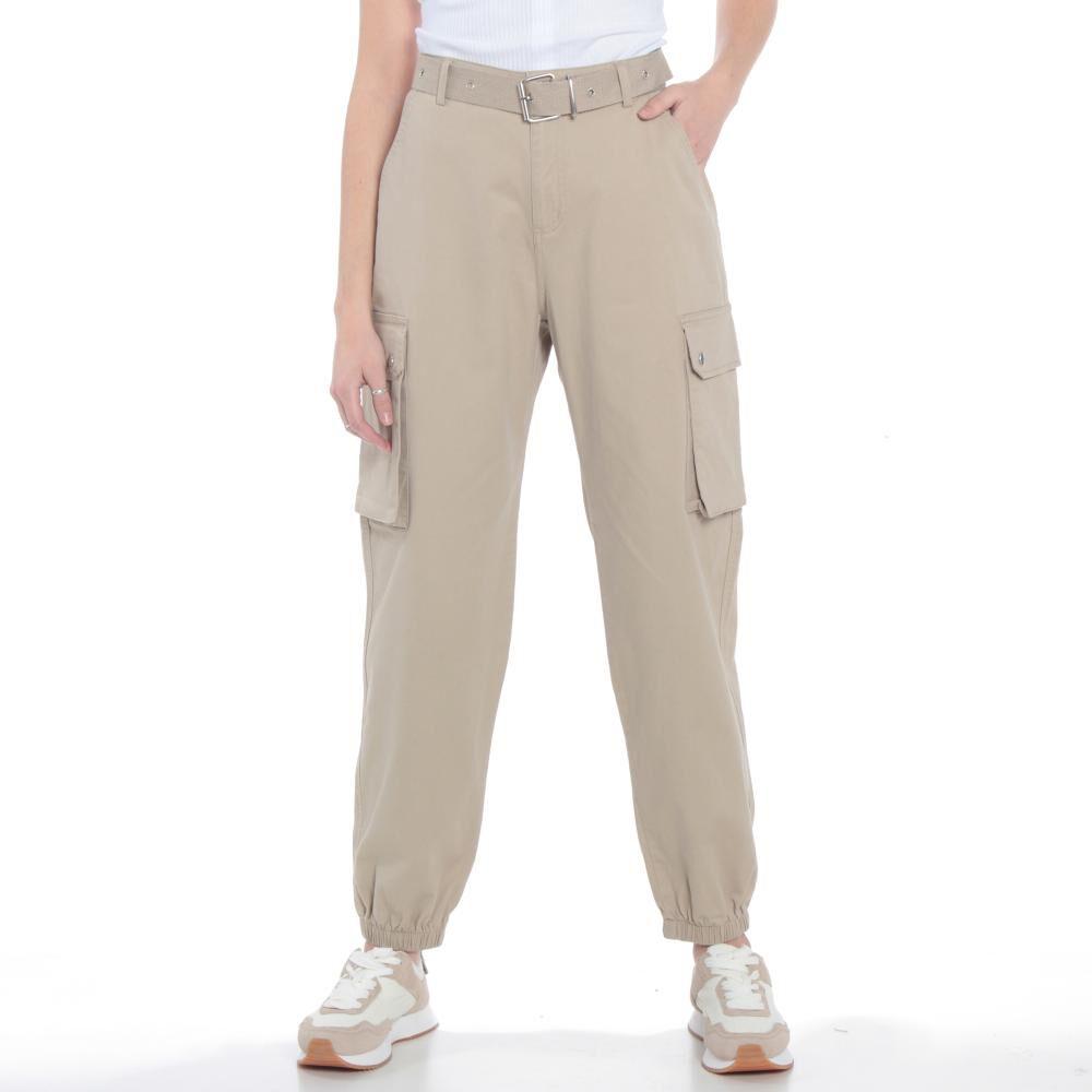 Pantalones Cargo Basta Elasticada Pretina Basica Tiro Alto Mujer Wados image number 0.0